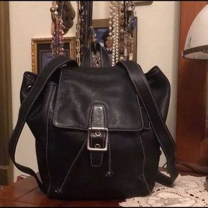 Coach Leather Buckle Drawstring Black Backpack🎒